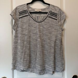 LOFT M - Gray Striped Tee w/ Embroidered Accent
